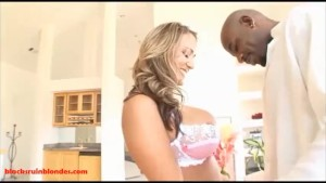 dirty blond whore gets pussy and asshole broken by black monster big dick