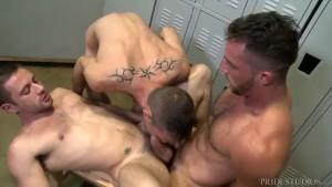 Brett Bradley has a Hot 3Way After Gym Shower!