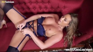Sexy blonde Natalia Forrest in designer nude heels sexy lingerie teases with nylons on before panties off pussy play