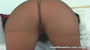 Spanish milf Montse Swinger dildo fucks her nyloned cunt