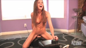 Two Beautiful brunette models ride the Sybian