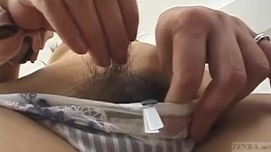 Subtitled Japanese amateur naked body check pubic hair focus