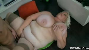 Horny guy fucks blonde BBW hooker