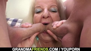 Riding blonde old grandma sucking another dick