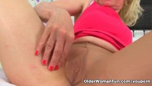 English milf Diana wears white knickers over tights