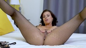 Stunning sophisticated tease Vicky Love joins you in the bedroom as she strips and fingers pussy in her sheer pantyhose