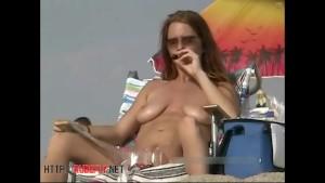 Compilation exposed woman on beach Voyeur