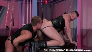 Leather Boy Toy Fists Hairy Daddy Brian Bonds' Ass Hole