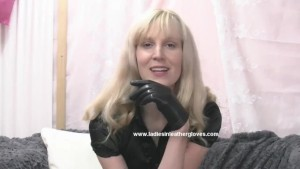 Blonde milf puts on sexy leather gloves and makes you into her kinky fetish slave