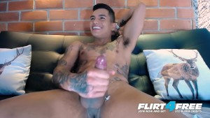 Flirt4Free Model Thony King - Tatted Toned Latin Stud Needs Two Hands to Stroke His Big Cock