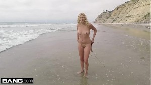 Sophia Lux gets naked and sucks dick at the beach