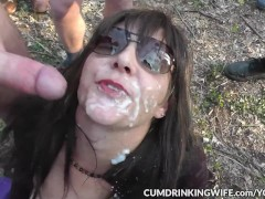 slutwife gangbanged by many strangers at a wooded dogging spot