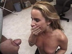 Chick gets cum in her throat and starts to choke
