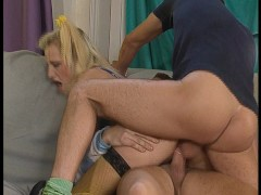 Blonde Nypho Takes On Two Cocks pt 1/2