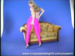 big tits strip in pink nylon catsuit