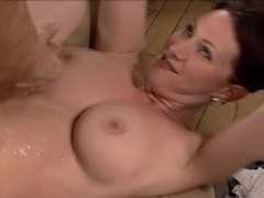 cum shot all over her boobs and stomach