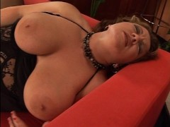 Big breasted woman can lick her own tit  (CLIP)