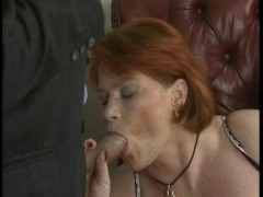Redhead  with big tits takes on two at a time  (CLIP)