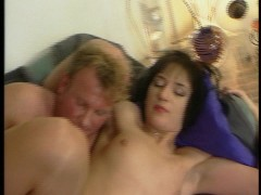 He drips cum in her hairy asshole