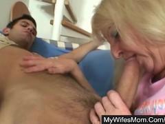 Blonde granny seduces son-in-law into hard sex