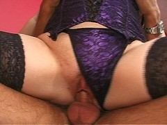 Two horny girls ride some big cocks