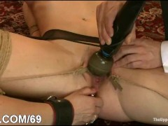 Busty girl and servant humiliated and fucked