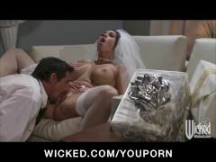 NERVOUS BIG TIT BRUNETTE WIFE FUCKS BIG DICK BEFOR