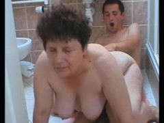 Mature woman sucks and fucks a young guy in the bathroom - Julia Reaves