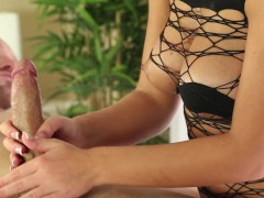 Amazing Cock Milking Action Under the Table