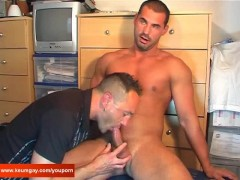 Andrea a sexy hunk guy get sucked his huge cock by our assistant !