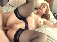 Big boobed blonde milf in stockings a...