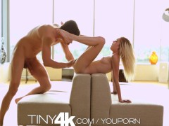 T4K Tiny blonde teen's pussy pounded by big dick in 4K