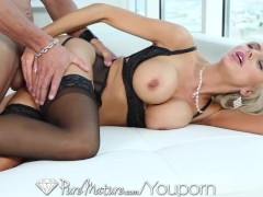 PureMature Sexy blonde MILF in black lingerie get creampied