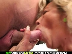 Aged mother takes his young cock