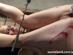 Tied slave has pussy stuffed with sex toys before electro treatment