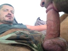 TIERY B. - SUCKING FAT AND BIG HEADED COCK - EATING THICK CUM - BEAR AND TWINK - DAD AND SONNY