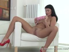Sexy Coed with Big Natural Breasts Masturbates to Real Orgasms
