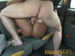 FakeTaxi Naked woman in London taxi swallows drivers spunk