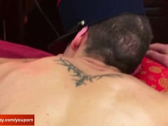 str8 Room service guy gets wanked his big cock by a client for money!