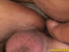 Oriental gaysex twink couple into watersports