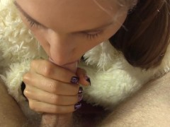 Amateur girl rides his cock while wearing bodystocking and fur coat