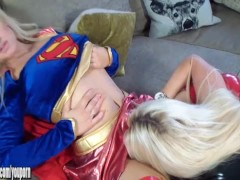 Super Girl vs Catwoman in latex hot horny busty babes fuck with big strapon