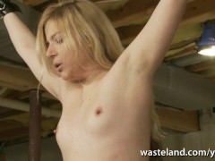 Electro session for pretty blonde slave as she gets brought to orgasm