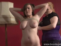 Lesbian livingroom bondage of cute gagged damsel in distress Taylor Heart