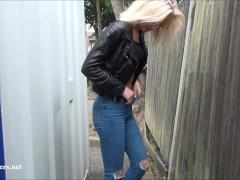 Beautiful daring blonde milf Atlantas public flashing and outdoor homemade voyeur exposure of fit amateur nude mum in the streets