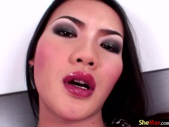 Adorable femboy in latex strokes and shoots messy cumload