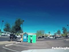 Porta Gloryhole Woman strips in public ports potty