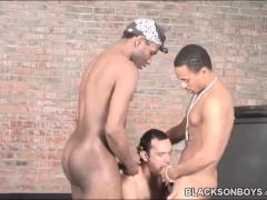 Straight white guy gets gangbanged by black men