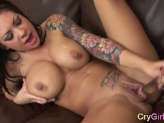 tattoo babe with big tits crying after orgasm
