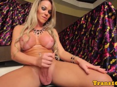 Latina glamour tgirl solo beating her meat